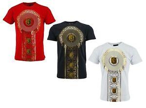 Mens Time is Money Urban Fashion Baroque Lion Foil Print Short Sleeve T-shirt T