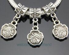 30pcs Tibetan Silver Flower Dangle Charms Fit Bracelet ZY232