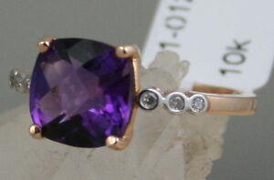 3g Solid 10k Pink Rose Gold 9mm Cushion Cut Natural Amethyst & Diamonds Ring