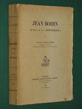 """Jean BODIN Auteur de la """"République"""" R. CHAUVIRÉ Souveraineté Monnaie avec envoi"""