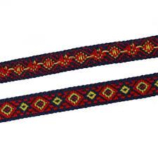 1 metre 50 de ruban en Coton Multicolore Losanges Tissé 12 mm