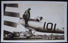 Single Engine Airplane 101 Pilot Aviator Helmet Goggles Parachute RPPC Postcard