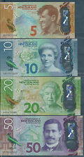 New Zealand 5, 10, 20, 50 Dollars 4Pcs Set, 2015 2016, UNC