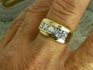 2.2Ct Round Cut Diamond Engagement Wedding Band Ring Mens' 14K Yellow Gold Over