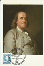 Benjamin Franklin author, statesman, scientist, diplomat Usa Maximum Card
