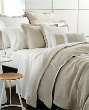 NEW Hotel Collection Voile Linen Natural Beige White King Quilted Coverlet $420