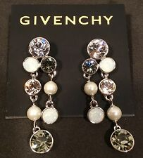 Givenchy Crystal, Rosewater Opal Crystal, & Glass Pearl Dangle Earrings NWT