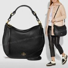 NWT 🌹 Coach 35593 Sutton Hobo Polished Leather Large Shoulder Bag Black Gold