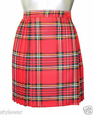 """New Ladies Tartan Pleated Wrap Over Buttoned Kilt Skirt 18"""" Inches Skirts 8-18"""