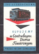 POLAND 1959 Matchbox Label - Cat.Z#163 We buy at the Central Depart. Store CDT