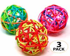 "1531 PK3 Natural Crazy Color Vine Balls 2"" Bird Toy Parrot Foot Craft Talon Pet"