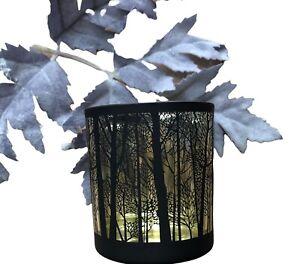 Glass woodland Tea Light Votive Black & Gold Candle Holder Christmas