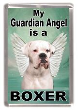 "Boxer (White) Dog Fridge Magnet ""My Guardian Angel is a Boxer"" by Starprint"
