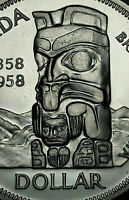 1958 CANADA SILVER DEATH DOLLAR TOTEM UNC CHOICE BU SUBTLE TONED GEM (DR)