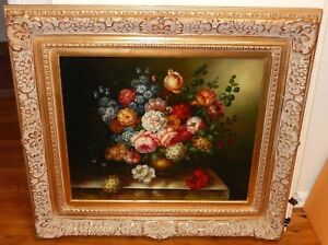 A.WOBURN LARGE OIL ON CANVAS FLORAL VASE ON TABLE PAINTING