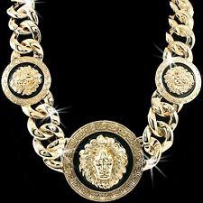 HUGE STATEMENT LION MEDUSA Head Medallion Greek Key MENS LADIES Chain Necklace