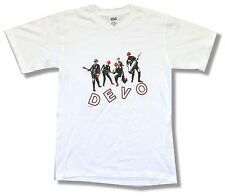 DEVO RED HATS BAND IMAGE WHITE T-SHIRT SMALL NEW OFFICIAL