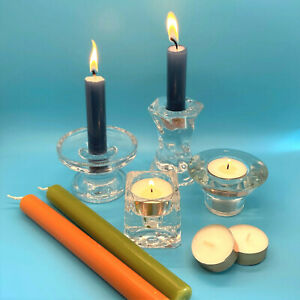 Glass Candle Holders Reversable Dinner Candle or T-Light Sold Individually