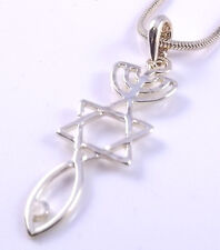 Sello mesiánica Collar hebraic raíces Colgante Oro injertadas Estrella de David menorá