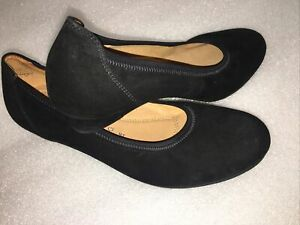 "Gabor Sz 5 Ladies Black Suede 1"" Flat Wedge Slip On Court Shoes Comfort Stylish"