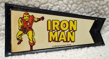 "IRON MAN MARVEL PENNANT w ORIGINAL HOLDER 3"" x 5 1/8"" Marvelmania 1966 RARE"