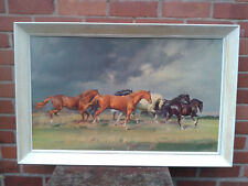 "Large retro 60's print of horses ""Coming Storm"" Frank Wootton OBE Original frame"