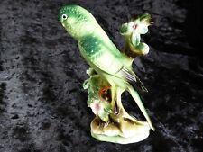 More details for vintage ceramic green budgerigar figurine
