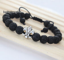 Fashion Mens 8mm Lava Stone and Fleur De Lis Figure Royal Yoga Beaded Bracelets