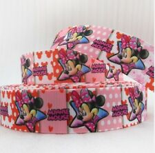 "BTY 1"" Disney Minnie Mouse Grosgrain Ribbon Hair Bows Scrapbooking Lanyards Lisa"