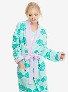 Ariel The Little Mermaid Green Seashells Plush Robe Bathrobe Teal Purple S/M NWT