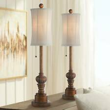 Traditional Buffet Table Lamps Set of 2 Wood Fabric for...