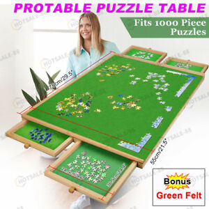 1000 Pieces Wooden Puzzle Table Jigsaw Puzzles Puzzle Board  4 Sliding Drawers