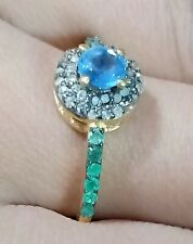 Gold Plated Fine Emerald Gems Ring 925 Sterling Silver Pave Diamond Kaynite Ring