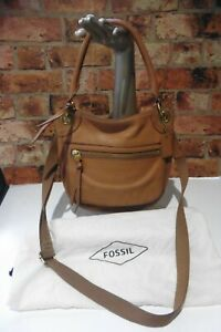 FOSSIL TAN REAL LEATHER MEDIUM MESSENGER BAG