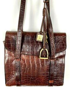 Lauren by Ralph Lauren Brown Croc Embossed Leather Saddle Bag Shoulder Purse