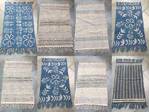 2'x3' Fit Blue Cotton Wood Hand Block Print Indoor Rug Yoga Mat Runner Handmade
