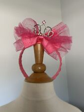 New Pink Princess Crown Headband with Tule and Glitter