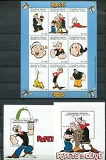 COMOROS 1998 POPEYE AND OLIVE OYL POSTAGE STAMP  SET AND SHEET - $38 VALUE!