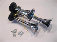Chrome Metal 12V 118DB Triple Trumpet Deep LOUD Train Air Three Horn Kit 12 Volt