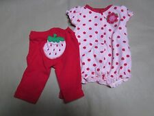 """Carters"" New Born Baby one piece & Pant Pink/Red Polka Dots Puffy Sleeve 2 Pc."