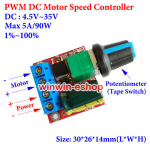 Mini PWM DC Motor Speed Controller Switch 4.5V~35V 5V 6V 12V 24V 5A LED Dimmer