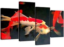 Poisson carpe koi toile mur art photos XL imprime 130cm Rouge Orange 4094