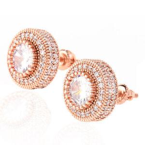 Hip Hop Screw Back Shining Zircon Round Stud Earring 18K Gold Plated Jewelry
