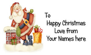 42 X Personalised Labels Stickers Tags Crafts seals 🎅 FATHER CHRISTMAS CHIMNEY