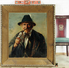 Antikes Ölgemälde Portrait Mann in Tracht Pfeifenraucher Genre Jäger Zunft Rad