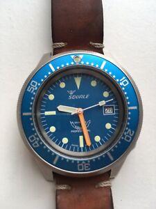 Squale Blue 1521 50ATM Swiss Automatic Dive Wristwatch