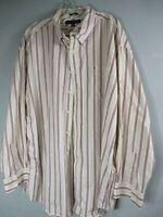 Tommy Hilfiger Mens 2XL XXL Cotton Long Sleeve Striped Button Front Shirt Pocket