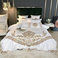 Bedding set 4pcs Luxury silky cotton embroidery Duvet cover Flat sheet set Thin