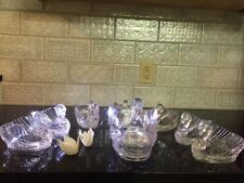 Regoline SET (8)Lucite Swans Dish Wedding or brunch Vintage 50s, 1 lg, 7 small.