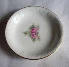 WHITE WITH PINK ROSES & GOLD TRIM BUTTER PAT OR TEA BAG HOLDER